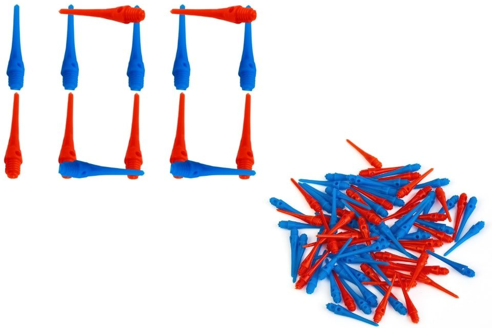 50 Blue & 50 Red Plastic Tips